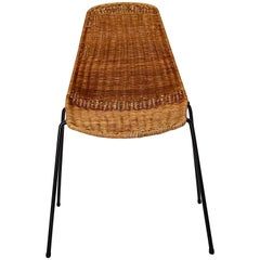 Gian Franco Legler Vintage Rattan Metal Mid-Century Modern Chair Switzerland