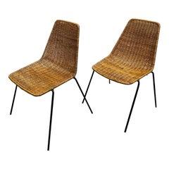 Gian Franco Legler Vintage Rattan Metal Mid-Century Modern Chairs, 1970s