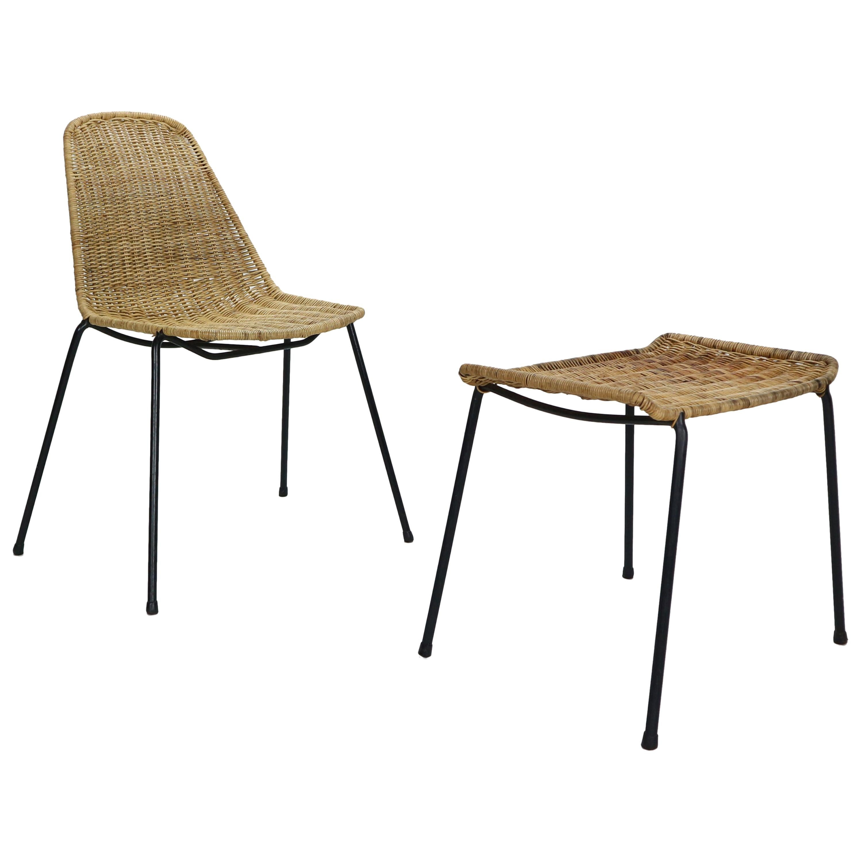 Gian Franco Legler Wicker Basket Chair and Ottoman, 1951, Switzerland