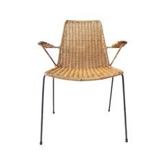 Gian Franco Legler Wicker Chair 1950s, Swiss, Mid-Century Modern, Basket Chair