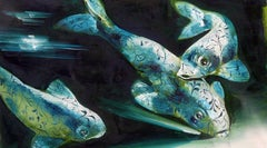 Abyss 3A - contemporary and classic painting, elegant and strong fish subject