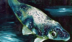 Abyss 5A - contemporary and classic painting, elegant and strong fish subject