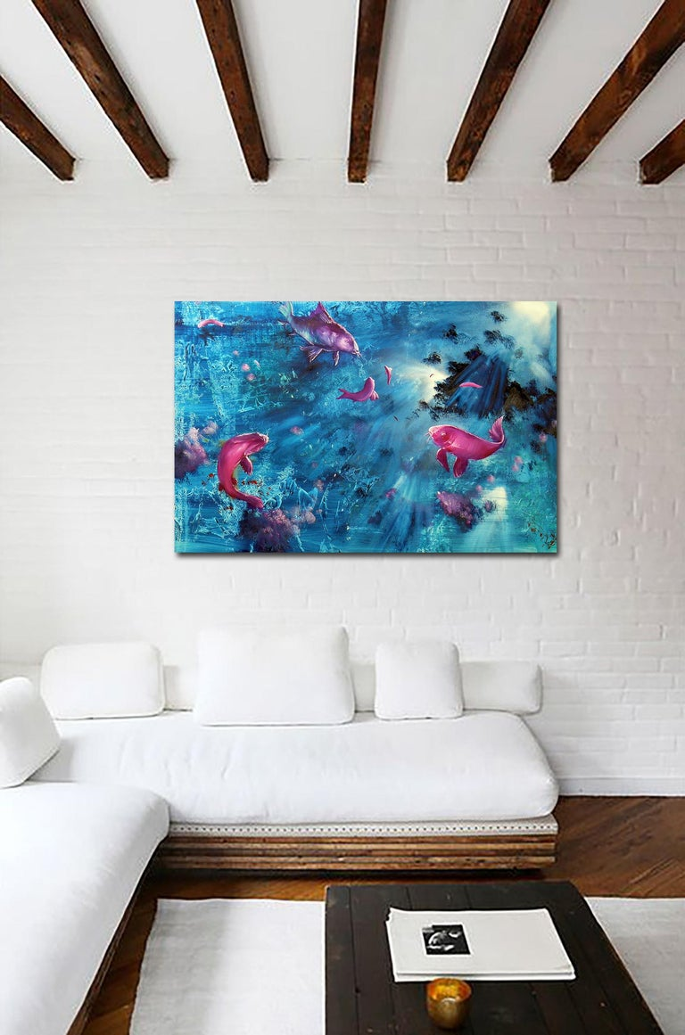 Leibniz Universe 13U - Contemporary and colorful underwater scene, Oil on canvas - Painting by Gian Marco Capraro