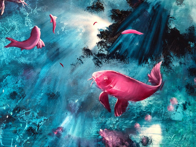 Leibniz Universe 13U - Contemporary and colorful underwater scene, Oil on canvas - Blue Animal Painting by Gian Marco Capraro