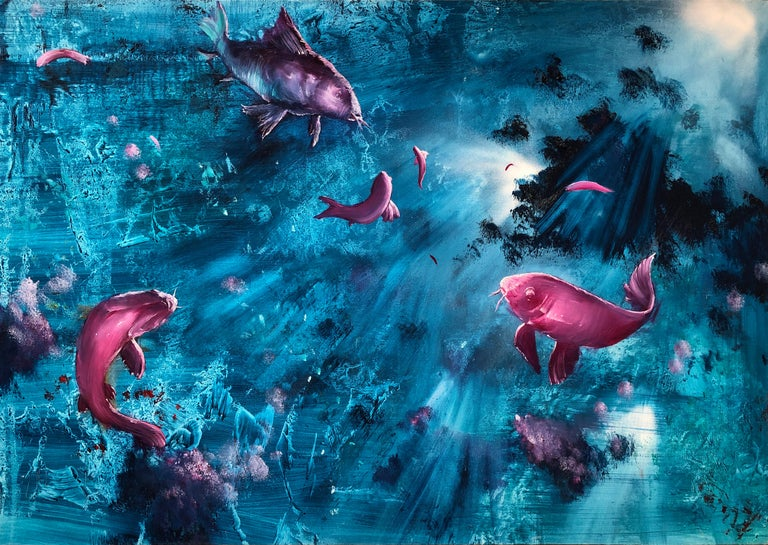 Leibniz Universe 13U - Contemporary and colorful underwater scene, Oil on canvas For Sale 2