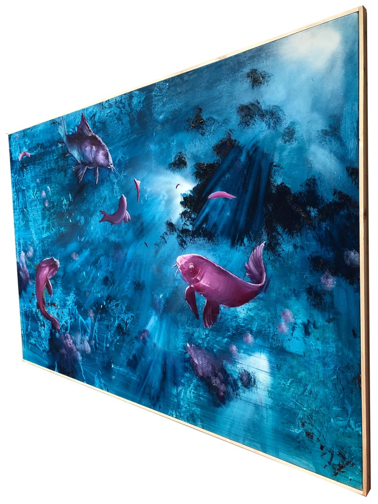 Leibniz Universe 13U - Contemporary and colorful underwater scene, Oil on canvas For Sale 1