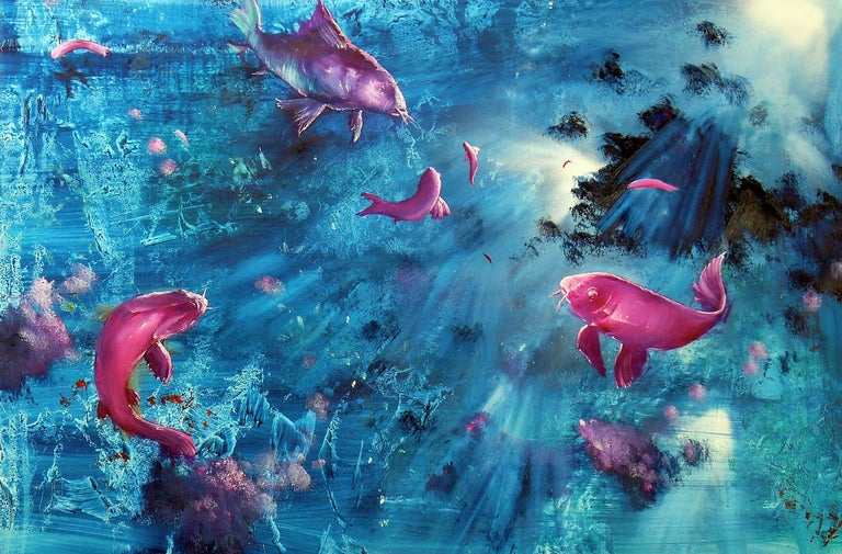 Gian Marco Capraro Animal Painting - Leibniz Universe 13U - Contemporary and colorful underwater scene, Oil on canvas