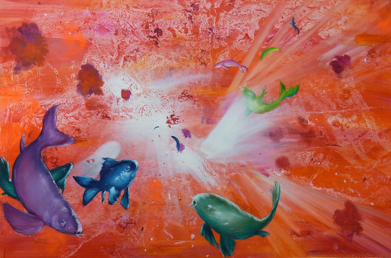Leibniz Universe 15U - Contemporary and colorful underwater scene, Oil on canvas
