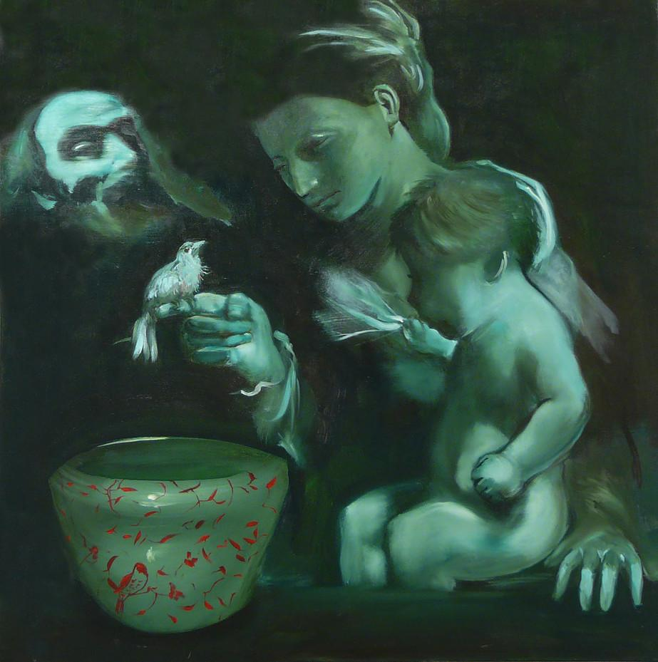 Old Master - 10M- contemporary and classic painting, elegant and strong subject
