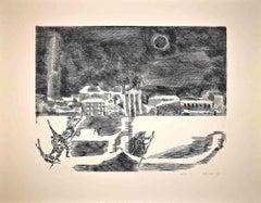 Night in Venice - Original Etching by Gian Paolo Berto - 1974