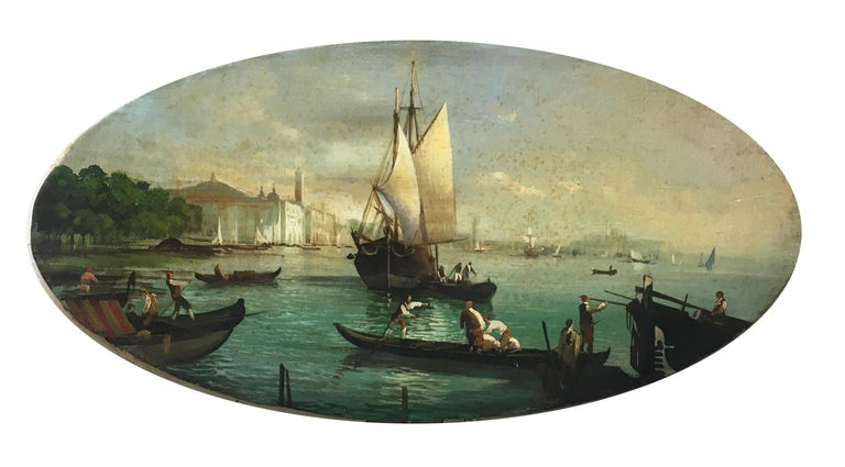VENICE - In the Manner of Canaletto - Italian Landscape Oil on Canvas Painting - Brown Landscape Painting by Giancarlo Gorini