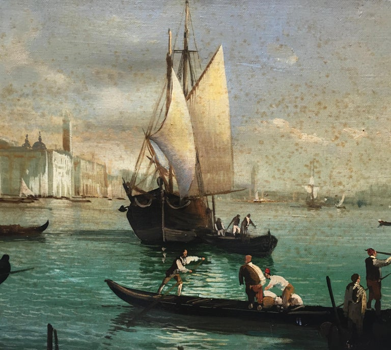 VENICE - Italian landscape oil on canvas oval  painting cm.30x60 by Giancarlo Gorini, Italy 2002. Gold gilded  wooden frame available on request Giancarlo Gorini's canvas is an extraordinary work of Italian landscape painting. It is inspired by the