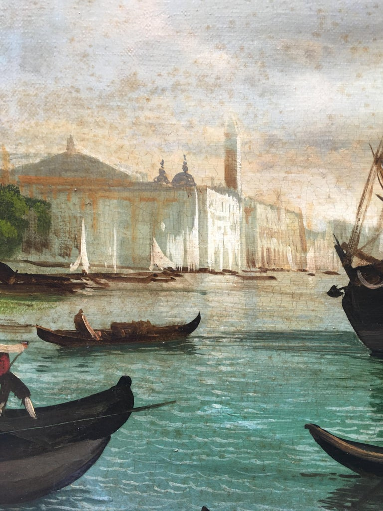 VENICE - In the Manner of Canaletto - Italian Landscape Oil on Canvas Painting For Sale 2