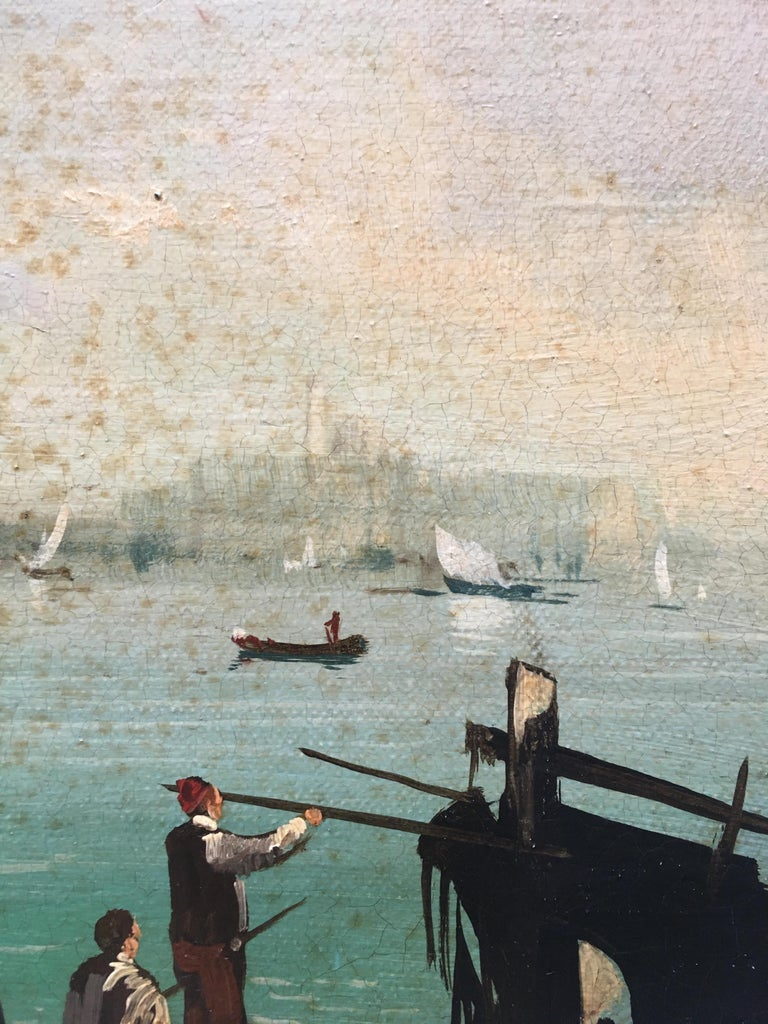 VENICE - In the Manner of Canaletto - Italian Landscape Oil on Canvas Painting For Sale 4