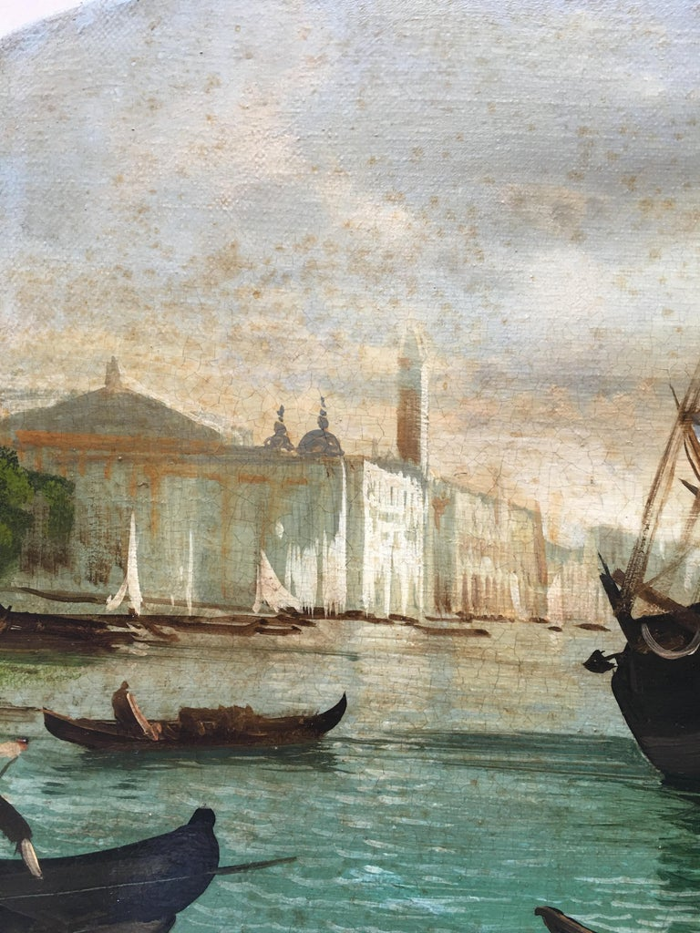 VENICE - In the Manner of Canaletto - Italian Landscape Oil on Canvas Painting For Sale 5