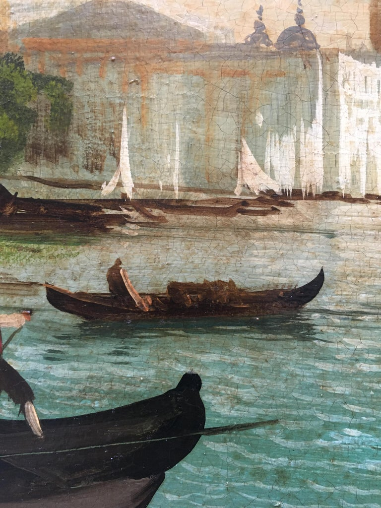VENICE - In the Manner of Canaletto - Italian Landscape Oil on Canvas Painting For Sale 6