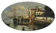 VENICE - Giancarlo Gorini Italian Landscape Oil on Canvas Painting