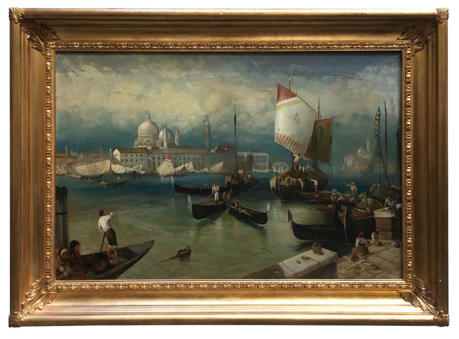 VENICE- In the Manner of Canaletto - Oil On Canvas Italian Landscape Painting