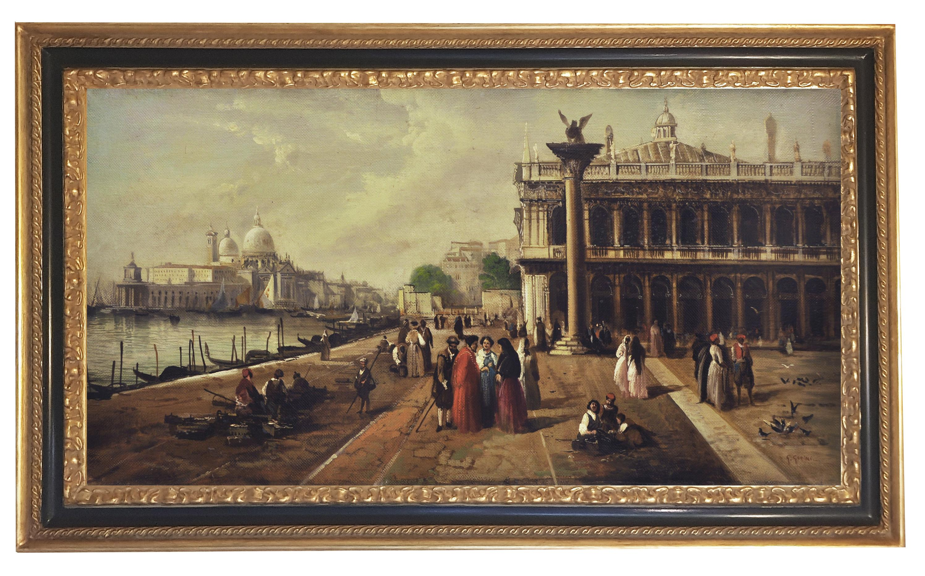 VENICE -In the Manner of Canaletto- Oil On Canvas Italian Landscape Painting