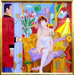 "Secret Affair, 52x52"" Acrylic on Silk Brocade,"