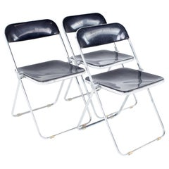 Giancarlo Piretti Anonima Castelli Style MCM Smoked Lucite Folding Chair Set 3