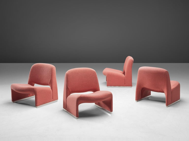 Giancarlo Piretti for Artifort, 'Arki' lounge chairs, Italy, 1970s  The 'Alky' armchair designed by Giancarlo Piretti for Castelli in 1969. Later, Artifort took over the production of these chairs. The model has bulky and fluid shapes. It consists