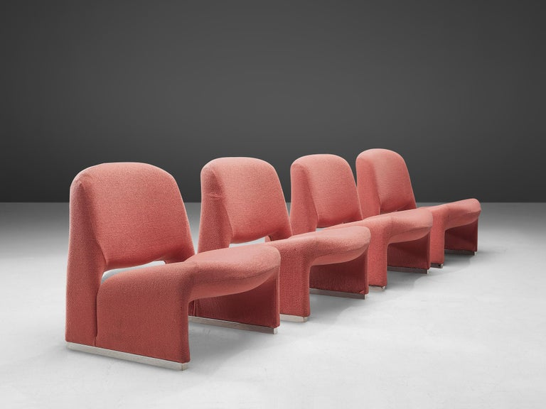 Italian Giancarlo Piretti 'Arki' Easy Chairs in Pink Upholstery For Sale