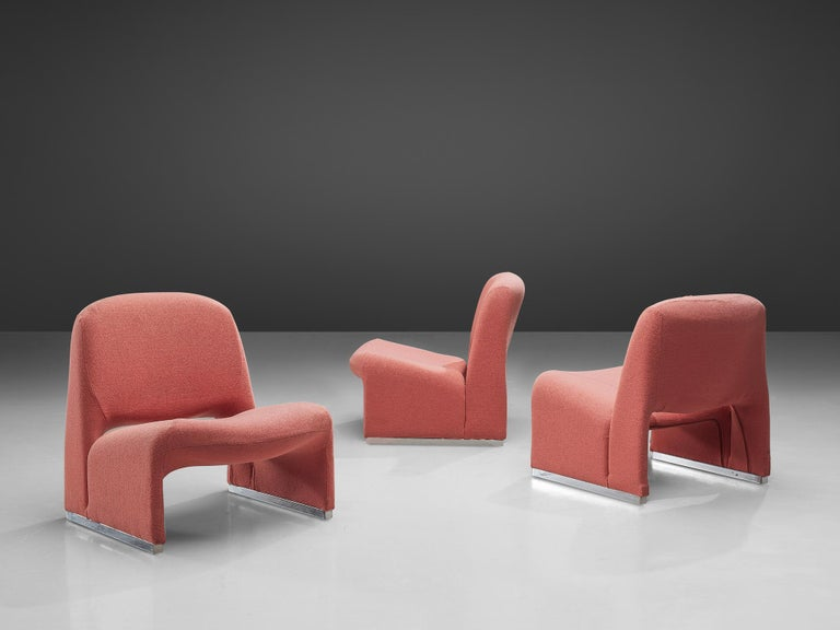 Late 20th Century Giancarlo Piretti 'Arki' Easy Chairs in Pink Upholstery For Sale