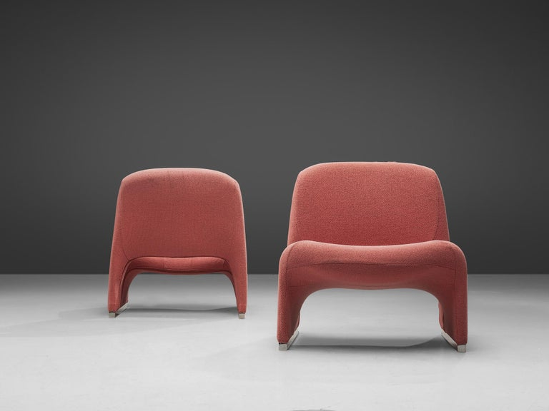 Aluminum Giancarlo Piretti 'Arki' Easy Chairs in Pink Upholstery For Sale
