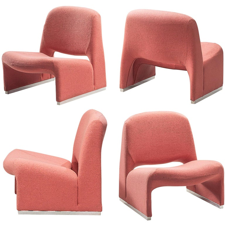 Giancarlo Piretti 'Arki' Easy Chairs in Pink Upholstery For Sale