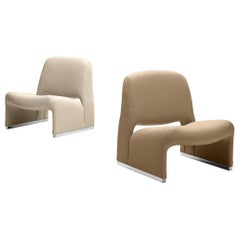 Giancarlo Piretti 'Arki' Pair of Bicolor Easy Chairs in Fabric Upholstery