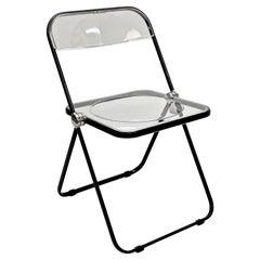 "Giancarlo Piretti Clear Lucite Folding ""Plia"" Italian Chair for Castelli, 1970s"