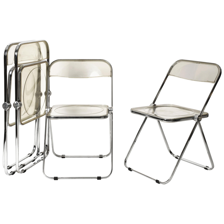 "Giancarlo Piretti Clear Lucite Folding ""Plia"" Italian Chairs for Castelli, 1970s"