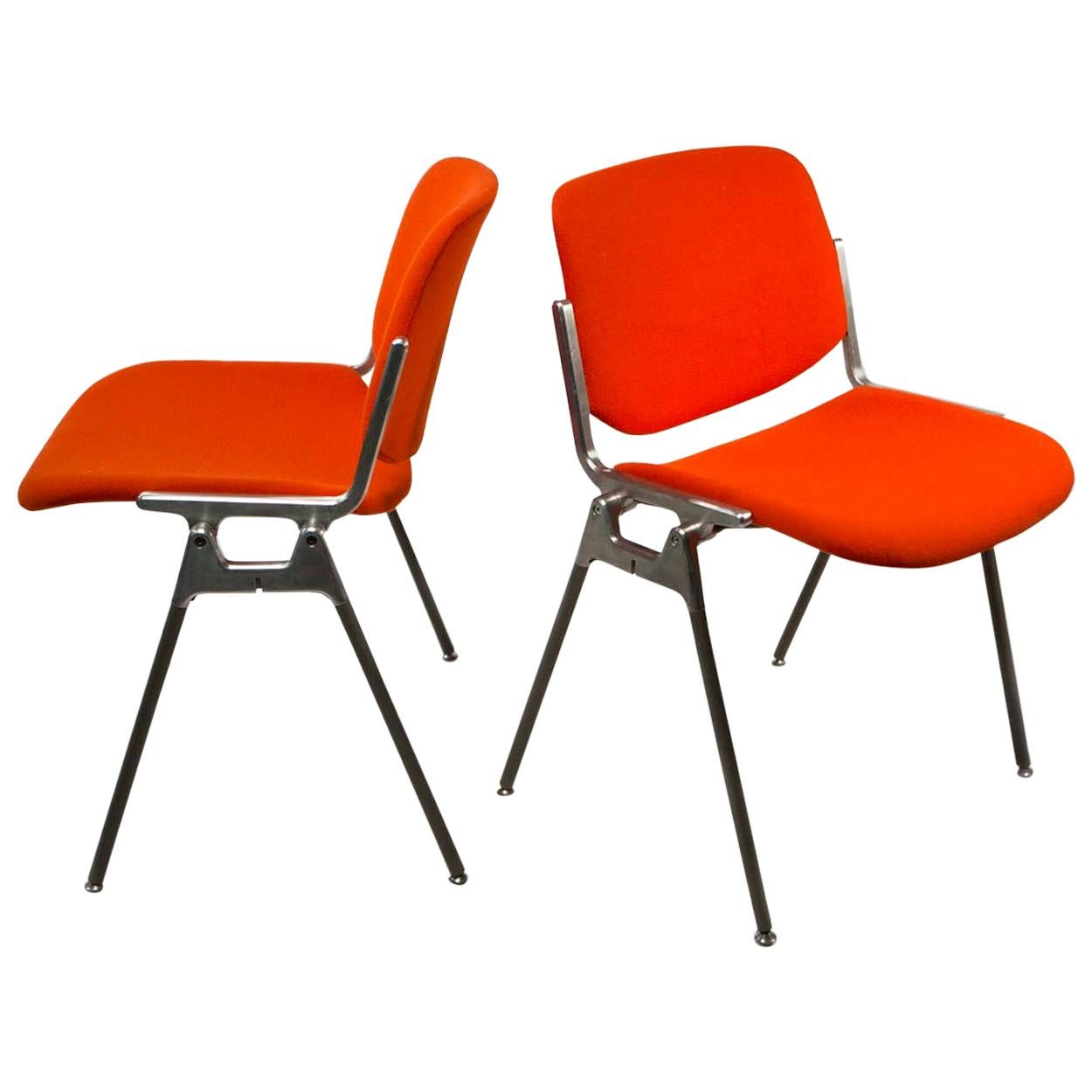 Giancarlo Piretti, DSC 106 Pair of Italian Stacking Chairs for Castelli, 1960s