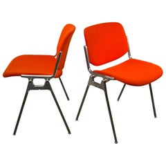 Giancarlo Piretti, DSC 106 Pair of Italian Stacking Chairs for Castelli, 1960s