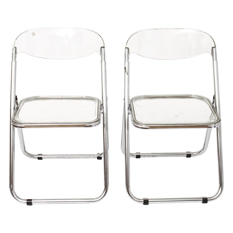 Giancarlo Piretti for Castelli Modern 'Plia' Acrylic Chairs For Sale