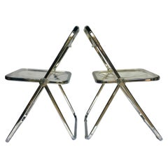 Giancarlo Piretti for Castelli Modern Plia Lucite Folding Dining Chairs, Italy