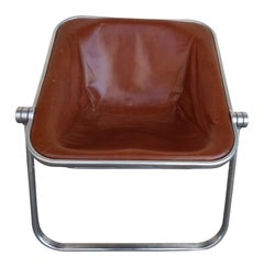 Giancarlo Piretti for Castelli Plona Leather & Chrome Folding Chair