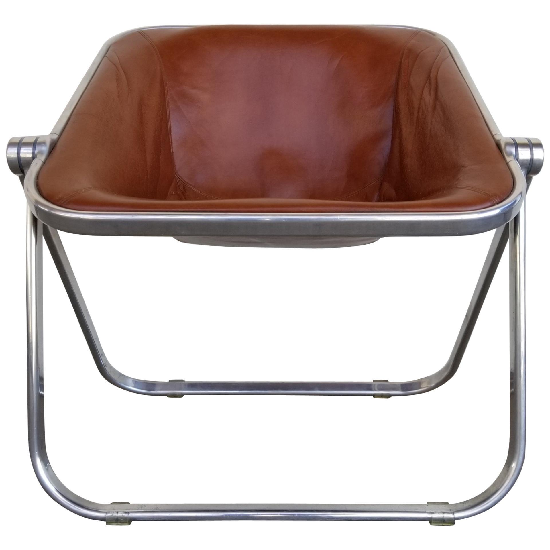 Giancarlo Piretti for Castelli Plona Leather & Chrome Folding Chair