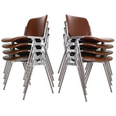 "Giancarlo Piretti for Castelli Set of 8 Dinning Chairs ""DSC 106"", 1960s, Italy"