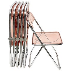"Giancarlo Piretti Lucite Pink Folding ""Plia"" Italian Chairs for Castelli, 1970s"