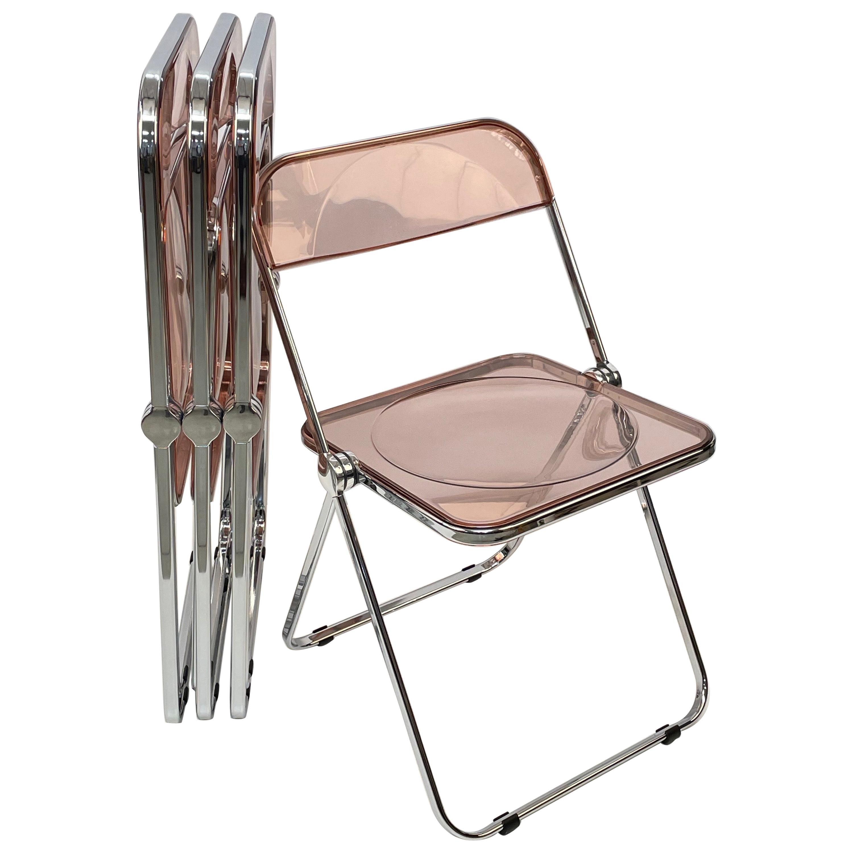 "Giancarlo Piretti Lucite Pink Folding ""Plia"" Italian Chairs for Castelli, 1970s"