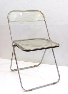 Giancarlo Piretti Pila Folding Chairs in Light Amber Lucite