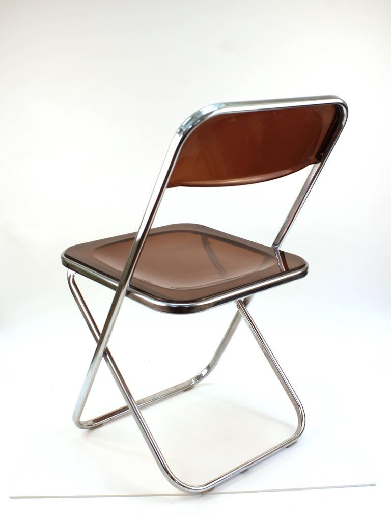 Italian Giancarlo Piretti Plia Style Folding Chairs in Smoked Lucite For Sale