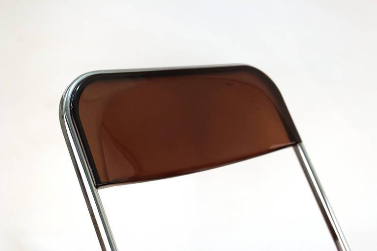 Chrome Giancarlo Piretti Plia Style Folding Chairs in Smoked Lucite For Sale