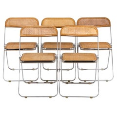 Giancarlo Piretti, Series of Five Caned Chairs, 1970s