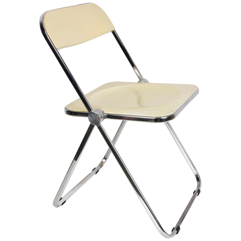 """Giancarlo Piretti White """"Plia"""" Italian Folding Chair for Castelli, 1970s"""