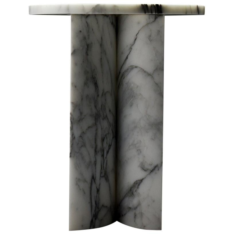 Giancarlo Stool Side Table in White Arabescato Marble