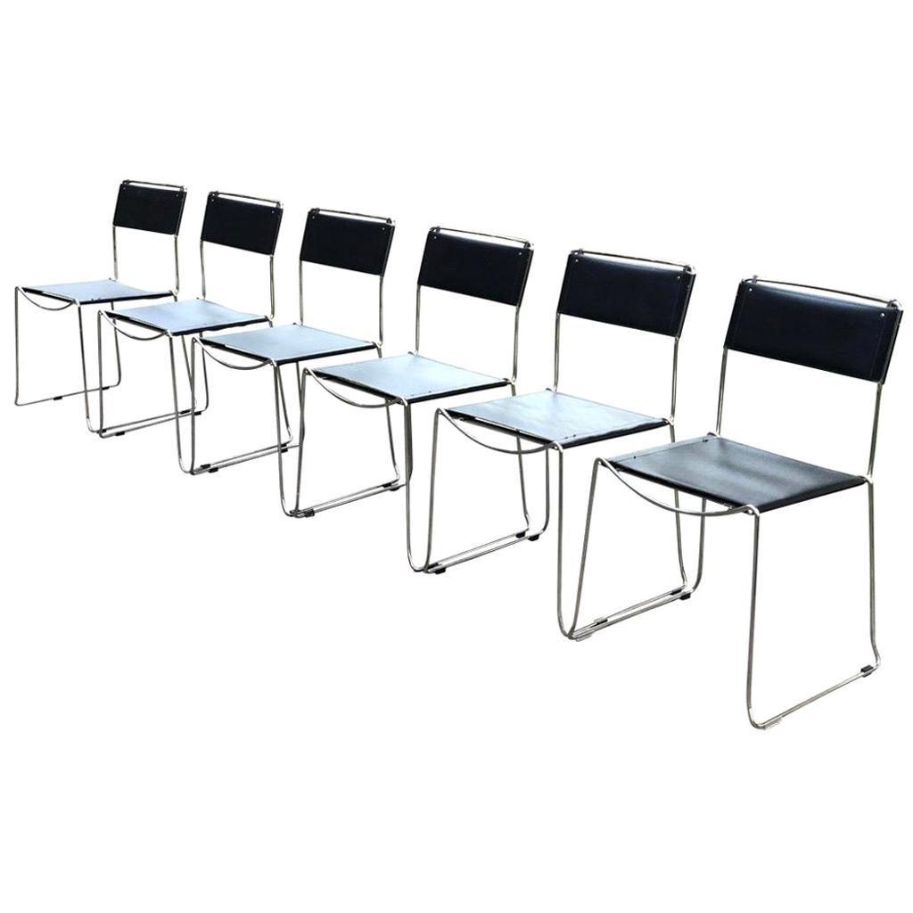 Giandomenico Belotti for Alias Set of Six Matching Chrome & Metal Dining Chairs