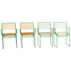 Giandomenico Belotti Set of 4 Green Lacquered Spaghetti Chair for Fly Line 1970s